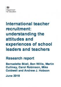 International teacher recruitment: understanding the attitudes and ...