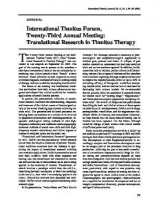 International Tinnitus Forum, Twenty-Third Annual Meeting ...