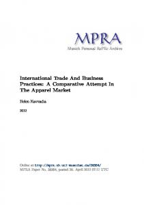 International Trade And Business Practices: A Comparative Attempt In ...