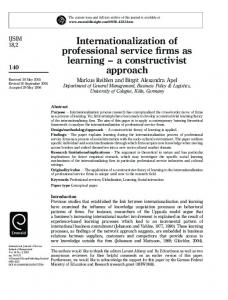 Internationalization of professional service firms as ...