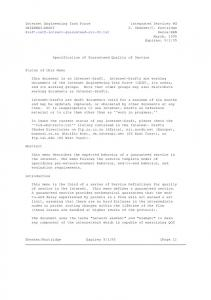 Internet Engineering Task Force Integrated Services ... - IETF Tools