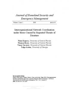 Interorganizational Network Coordination under ...