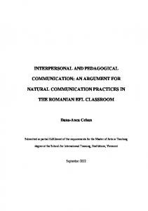 interpersonal and pedagogical communication: an argument for ...