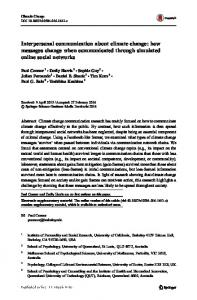 Interpersonal communication about climate change - Springer Link