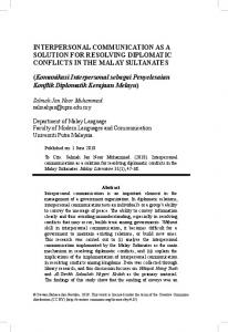 INTERPERSONAL COMMUNICATION AS A ... - Malay Literature