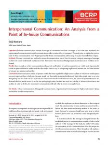 Interpersonal Communication - Business Communication Research