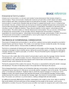 Interpersonal Communication - Sage Publications