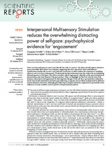 Interpersonal Multisensory Stimulation reduces the ... - Semantic Scholar