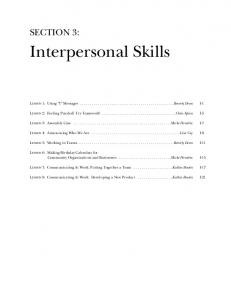 Interpersonal Skills - Center for Literacy, Education & Employment