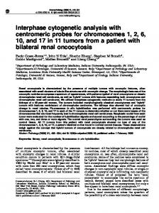 Interphase cytogenetic analysis with centromeric probes for ... - Nature