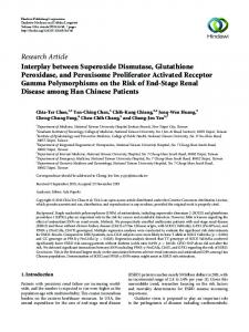 Interplay between Superoxide Dismutase, Glutathione Peroxidase ...