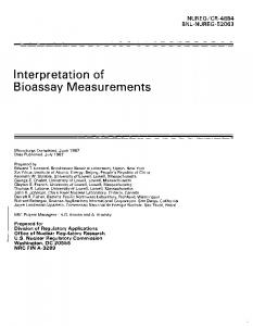 Interpretation of Bioassay Measurements