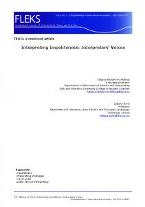 Interpreting Impoliteness: Interpreters' Voices - HiOA