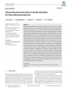 Interprofessional education in dental education - Wiley Online Library