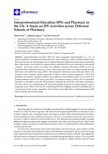 Interprofessional Education (IPE) and Pharmacy in the UK. A ... - MDPI