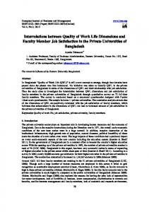 Interrelations between Quality of Work Life Dimensions and Faculty ...