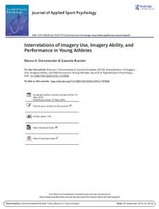 Interrelations of Imagery Use, Imagery Ability, and Performance in ...