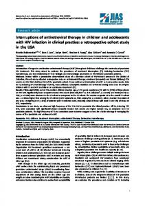 Interruptions of antiretroviral therapy in children and adolescents with ...