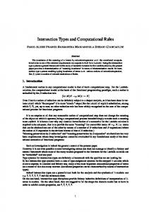 Intersection Types and Computational Rules