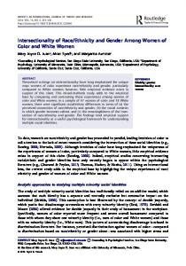 Intersectionality of Race/Ethnicity and Gender Among Women of Color ...