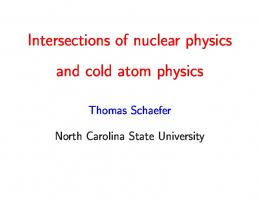 Intersections of nuclear physics and cold atom physics - NCSU Physics