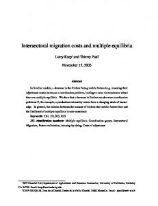 Intersectoral migration costs and multiple equilibria - University of