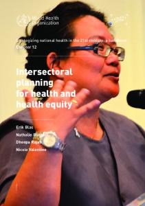 Intersectoral planning for health and health equity - World Health ...