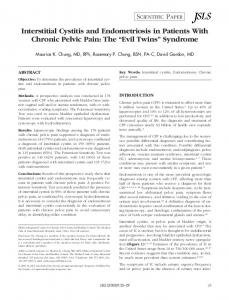 Interstitial Cystitis and Endometriosis in Patients With Chronic Pelvic ...