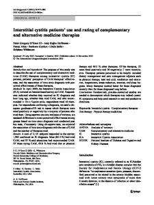 Interstitial cystitis patients' use and rating of ... - Springer Link