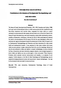 Intersubjectivity research and theory: Contributions to the ... - AVIGuk