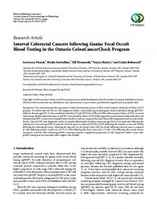 Interval Colorectal Cancers following Guaiac Fecal Occult Blood ...