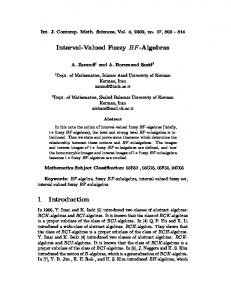 Interval-Valued Fuzzy BF-Algebras 1 Introduction