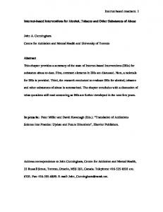 Interventions for Alcohol, Tobacco and Other Substances ... - CiteSeerX