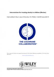 Interventions for treating obesity in children