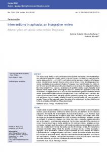 Interventions in aphasia: an integrative review - SciELO