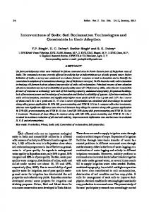 Interventions of Sodic Soil Reclamation Technologies ...