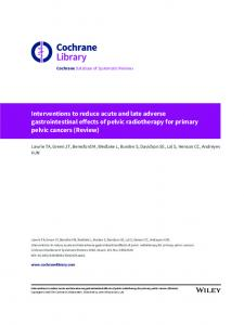 Interventions to reduce acute and late adverse
