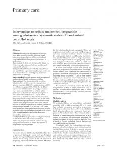 Interventions to reduce unintended pregnancies among adolescents ...
