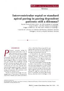 Interventricular septal or standard apical pacing in