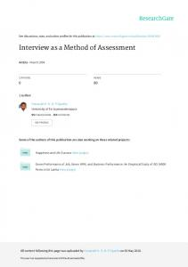 Interview as a Method of Assessment