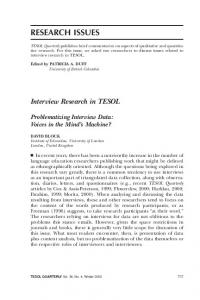 Interview Research in TESOL - Wiley Online Library