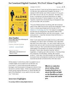 Interview: Sherry Turkle, Author of 'Alone Together' : NPR