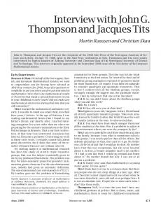 Interview with John G. Thompson and Jacques Tits