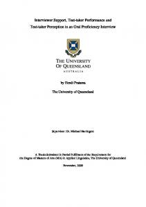 Interviewer Support, Test-taker Performance and Test ... - UQ eSpace