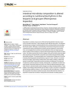 Intestinal microbiota composition is altered according to ... - PLOS