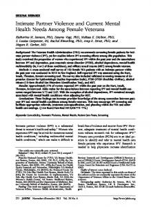 Intimate Partner Violence and Current Mental Health Needs Among ...