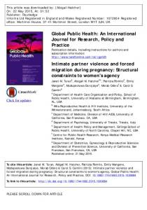 Intimate partner violence and forced migration ...
