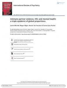 Intimate partner violence, HIV, and mental health: a triple ... - HSRC