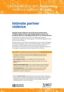 Intimate partner violence - World Health Organization