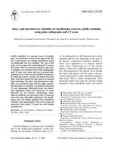 Intra-and interobserver reliability of classification scores in calcific ...